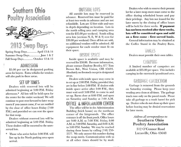 Southern Ohio Poultry Association Swap.